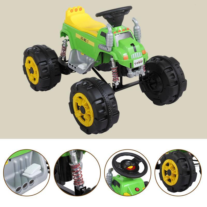 12V Ride On Electric Quad For Kids, Green ride on car atv 4 wheel shock beach vehicle green 16 1