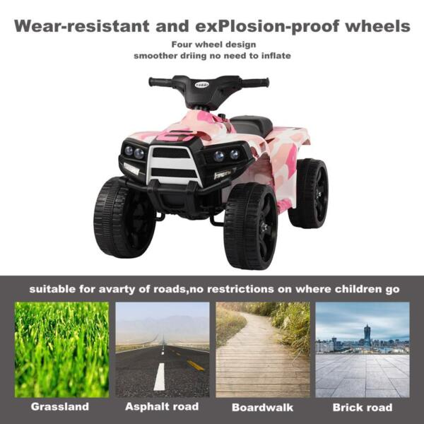 12V Electric Ride On Kids ATV, Pink ride on car atv 4 wheels battery powered 3