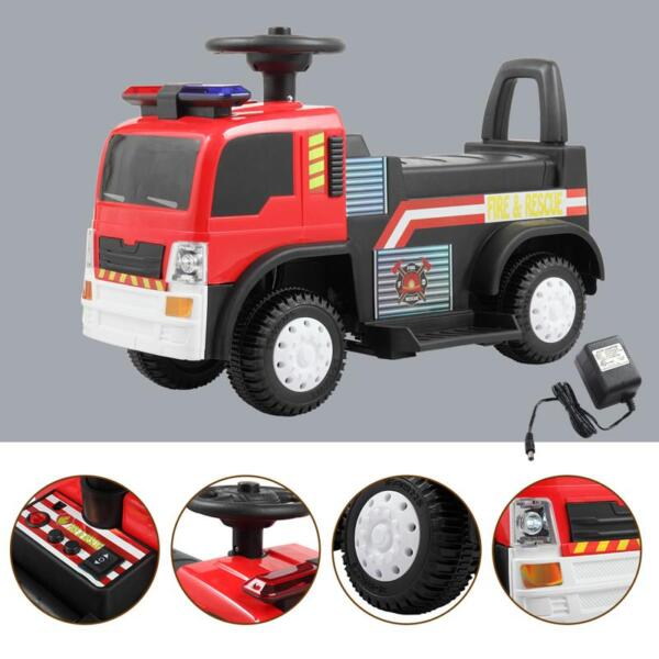 Ride On Fire Truck Car 6V Vehicle for Kids, Red ride on fire truck car 6v vehicle for kids red 18