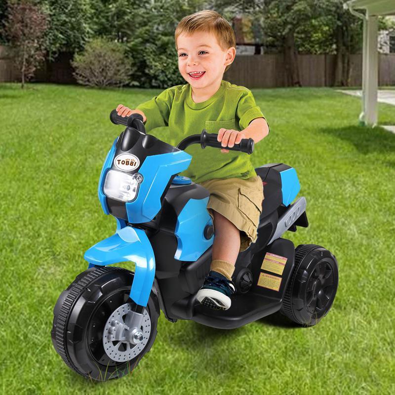 6V Battery Power Ride On Motorcycle for Kids, Blue ride on motorcycle 6v battery power bicycle for kids blue 9