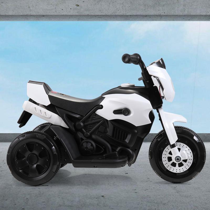 6V Battery Power Ride On Motorcycle for Kids, White ride on motorcycle 6v battery power bicycle for kids white 3 2
