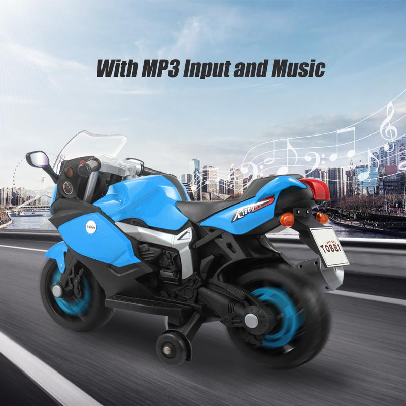 Electric Ride On Motorcycle Toy for Kids, Blue ride on toy racing motorcycle for kids blue 20