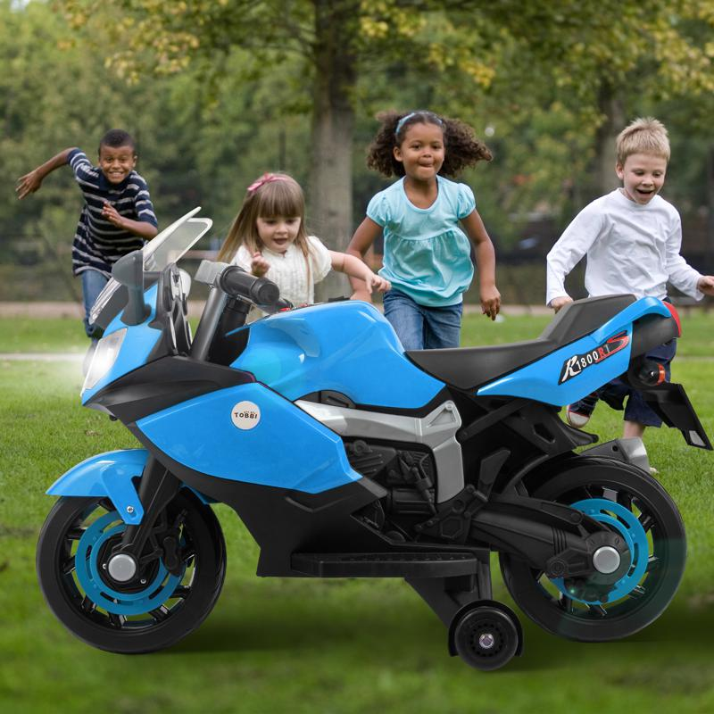 Electric Ride On Motorcycle Toy for Kids, Blue ride on toy racing motorcycle for kids blue 21 1