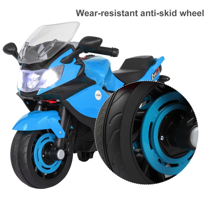 Electric Ride On Motorcycle Toy for Kids, Blue ride on toy racing motorcycle for kids blue 28 2