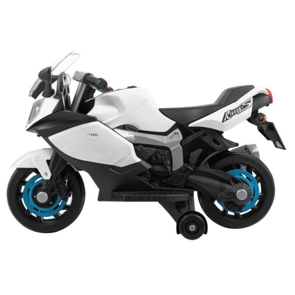 Ride On Toy Racing Motorcycle for Kids, White ride on toy racing motorcycle for kids white 0 1