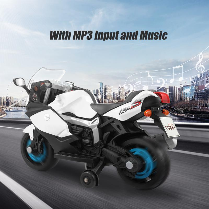 Electric Ride On Motorcycle Toy for Kids, White ride on toy racing motorcycle for kids white 20