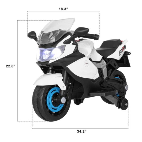 Ride On Toy Racing Motorcycle for Kids, White ride on toy racing motorcycle for kids white 23
