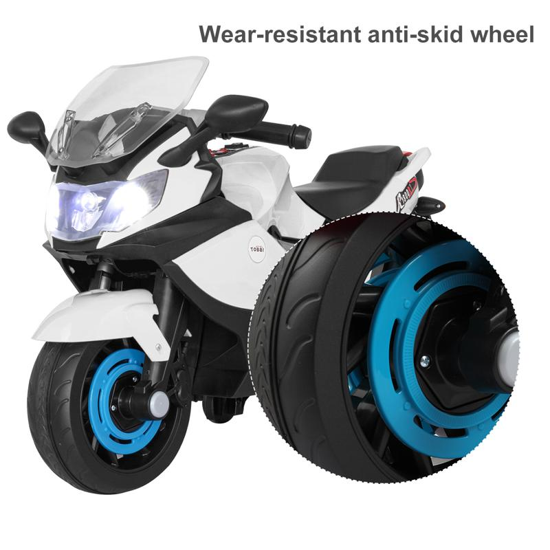 Electric Ride On Motorcycle Toy for Kids, White ride on toy racing motorcycle for kids white 28 1