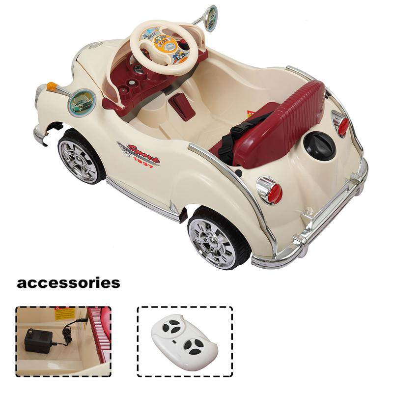 6V Electric Baby Cars with Remote rome contral ride on car beige 17 1