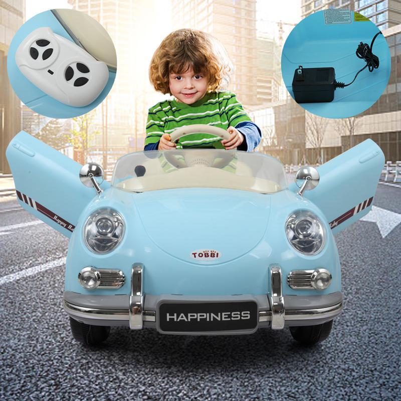 Retro Ride On Car for Toddler W/ RC romote contral kids ride on car licensed white 47 1