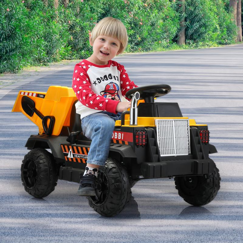 Kid's Ride On Dumper Truck Toy W/ Bucket romote contral kids ride on car licensed yellow 13 1