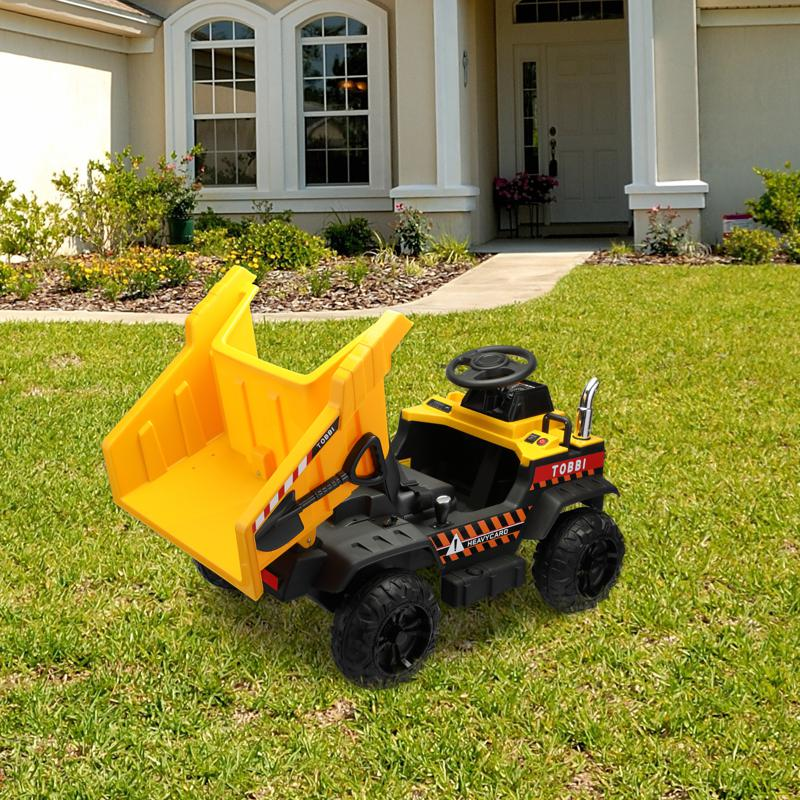 Kid's Ride On Dumper Truck Toy W/ Bucket romote contral kids ride on car licensed yellow 18 1
