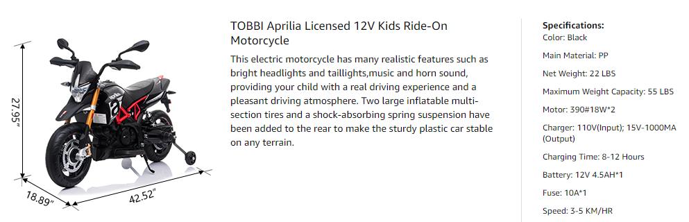 Aprilia Licensed 12V Kids Toy Motorcycle, Black sdas