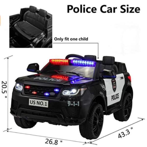 12V Kids Ride On Police Car, Black size of kids ride on police car