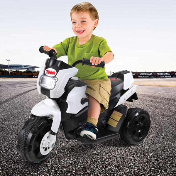 6V Battery Power Ride On Motorcycle for Kids, White th17a0355 cj 1