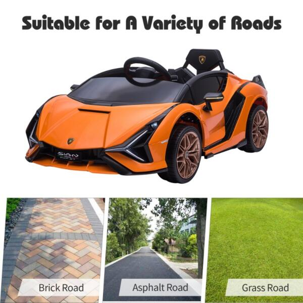 12V Licensed Lamborghini Sian Battery Powered Kids Ride On Car with Remote Control, Orange th17a0805 zt 1