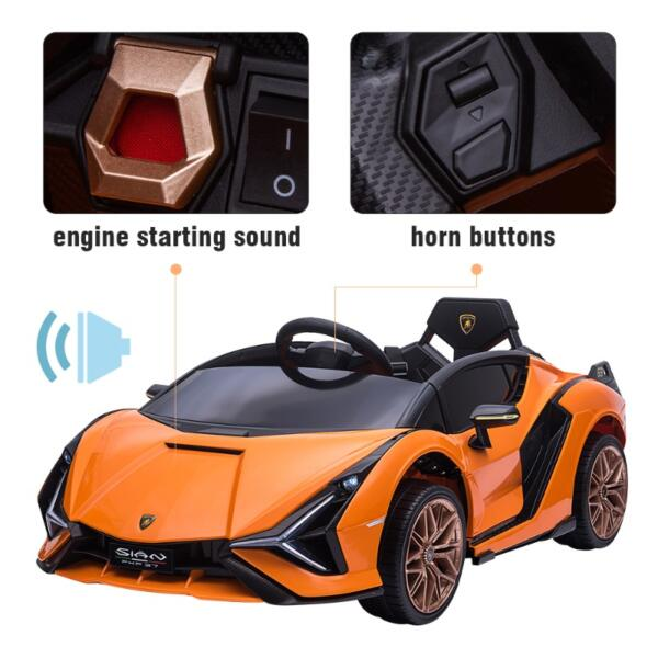 12V Licensed Lamborghini Sian Battery Powered Kids Ride On Car with Remote Control, Orange th17a0805 zt 5