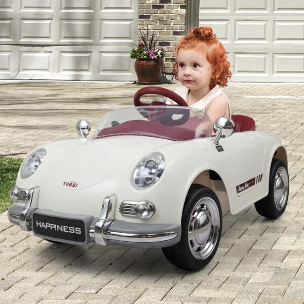 Vintage Style Battery Powered Kids Ride on Car with Remote Control, White th17f0394 zt5