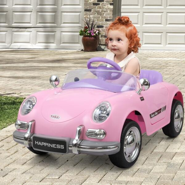 Vintage Style Battery Powered Kids Ride on Car with Remote Control, Pink th17g0395 zt5