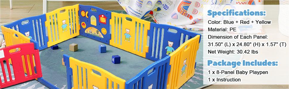 Toddlers Playpen 8 Panel Play Yard with Door th17k0325ajasmine970x3001 1