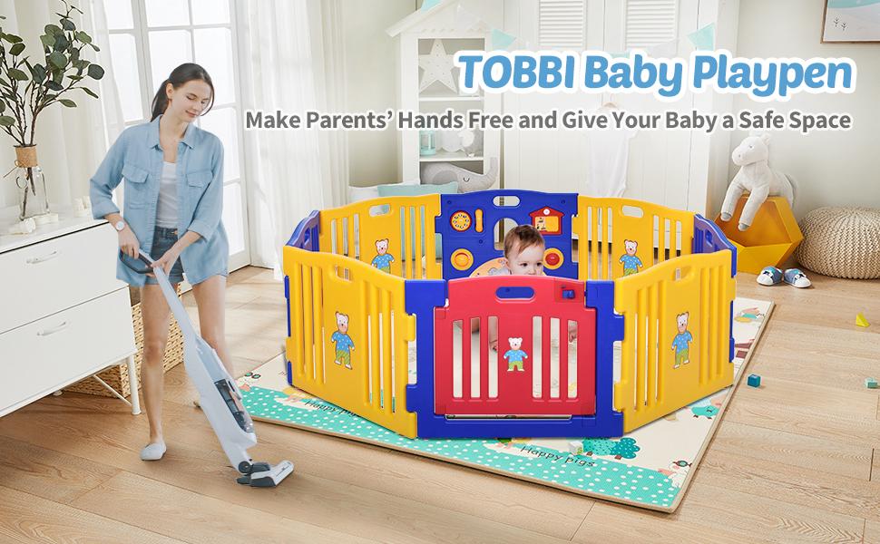 Toddlers Playpen 8 Panel Play Yard with Door