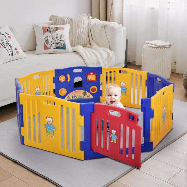 Toddlers Playpen 8 Panel Play Yard with Door th17k0325zt