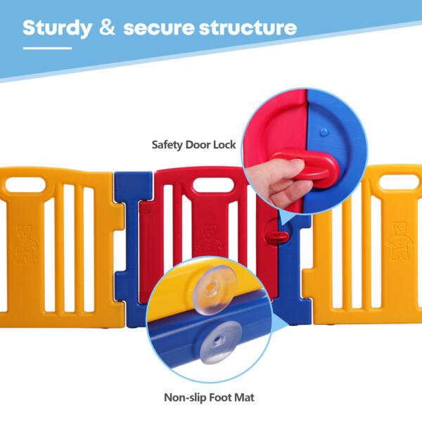 Portable Play Yard Baby Gate 8 Panel th17w0352zt